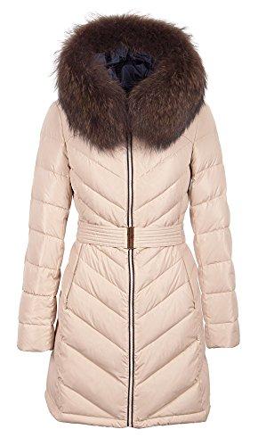 Grimada Q392 dames donsjas jas SNOWIMAGE met echte bontcapuchon beige