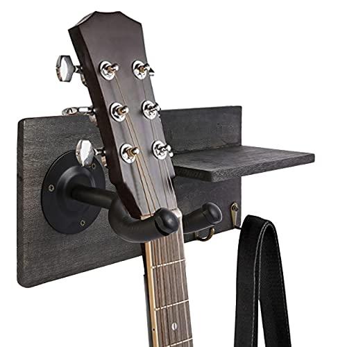 Guitar Hooks Wall Mount Hanger- Guitar Holder Shelf Accessories Storage and 3 Metal Hooks,Guitar Stand Wood Hanging RackSuitablefor Electric Guitar, Acoustic Guitar, Bass Guitar, Guitar Accessories