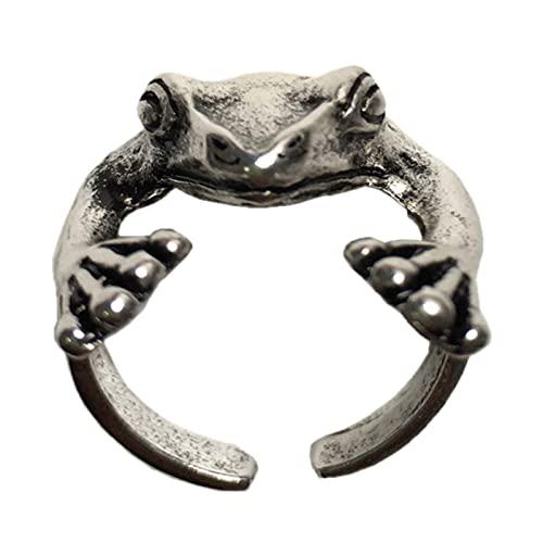 minjiSF Bonito anillo de animales para mujeres y hombres, anillo gótico con personalidad, de plata, con diseño vintage, punk, para hombre, apertura ajustable, anillos combinados