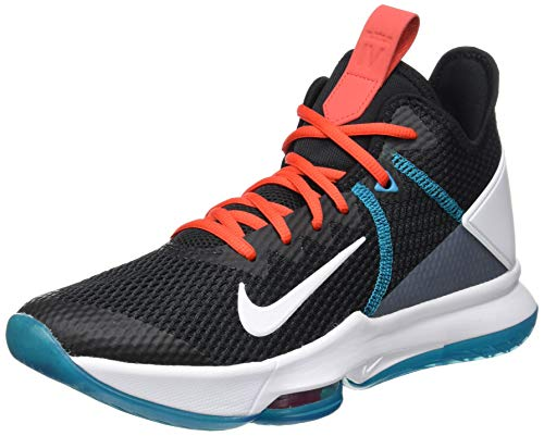 Nike Lebron Witness IV, Scarpe da Basket Uomo, Black/White/Chile Red/Glass Blue/Dk Smoke Grey/Univ Red, 42.5 EU