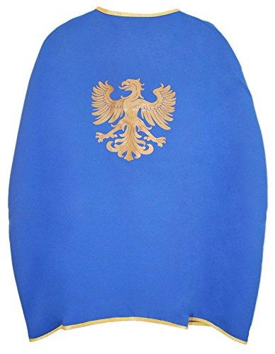 Das Kostümland Ritter Umhang mit Wappen Adler Blau Gold