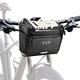 <span class='highlight'><span class='highlight'>CestMall</span></span> Bike Handlebar Bag Bike Basket Front Bag Water Resistant Bicycle Storage Bag Cycling Accessory with 6 Inch Touchscreen Window and Detachable Shoulder Strap, 3.5L Large Cpacity Black