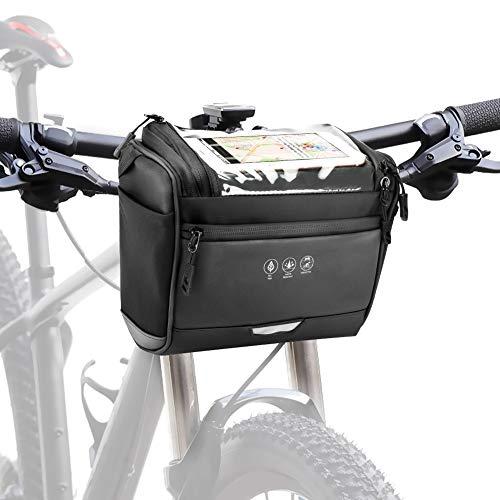 CestMall 3.5L Fahrradtsche zur Befestigung am Lenker, mit abenehmbaren Schultergurt. Fahrrad Lenkertasche Wasserdicht Fahrradtasche Lenkertasche Schwarz