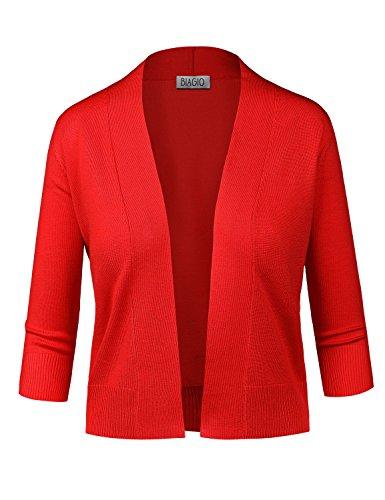 BIADANI Women Classic 3/4 Sleeve Crop Cardigan Red Small