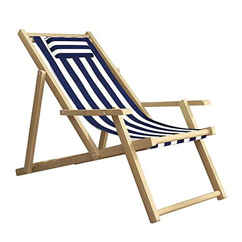 Solid Wood Plage Longue Pliante Pliante Toile Chaise Longue Portable Portable Chaise Pliante Déjeuner Heure de Loisirs Chair de Balcon