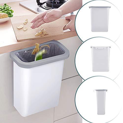 DUTISON Küchen Mülleimer Hängender 10L Kunststoff (PP) Mülleimer für Küche/Büro/Badezimmer/Auto/Kinderwagen (Weiß)