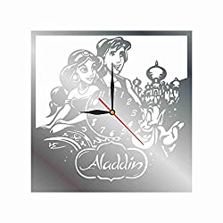 """mamakyma Offer. Cut of Plastic 11,4"""" Aladine and Jasmine Wall Clock. Non-Tickling. Classic Silver. for Any Type of Room."""