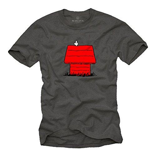 Witzige T-Shirts für Männer Snoop Dog Print Herren Grau Größe XL