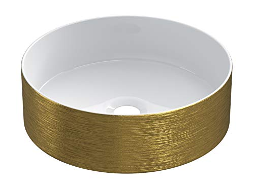 STARBATH PLUS Lavabo Cerámica Sobre Encimera Redondo Oro 35 x 35 x 12 cm SFCIL-GL