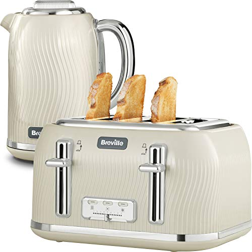 Breville Flow Kettle and Toaster Set with 4 Slice Toaster and Electric Kettle (3 KW Fast Boil) | Camden Clay [VKT891 + VKT091]