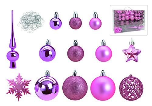 Weihnachtskugeln 111er Set | Christbaumspitze | Weihnachtsdeko | 100 Metallhaken Anhänger | Baumschmuck Weihnachten | Weihnachtsbaumschmuck | DREI Kugel Größen (Pink/Rosa)