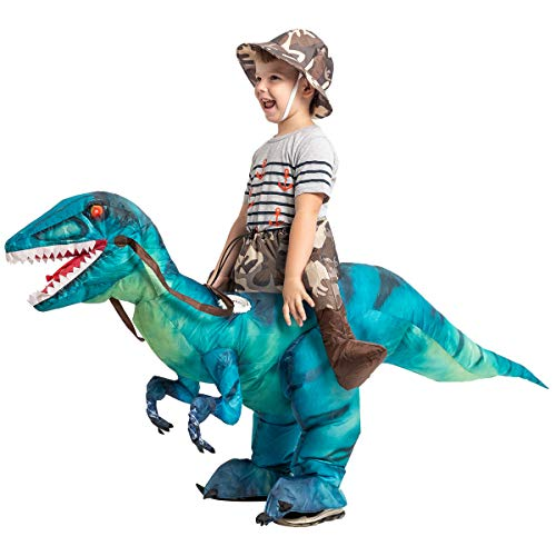 GOOSH Inflatable Dinosaur Costume Riding a T-REX Air Blow-up Deluxe Halloween Costume Red (55 INCH Body height) (3-6 Yrs 48'Height)