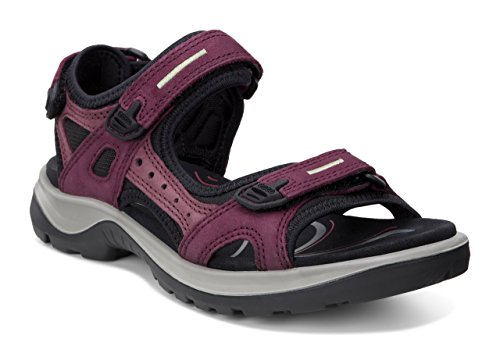 ECCO Women's Yucatan outdoor offroad hiking sandal, Morillo/Port/Black, 10 M US