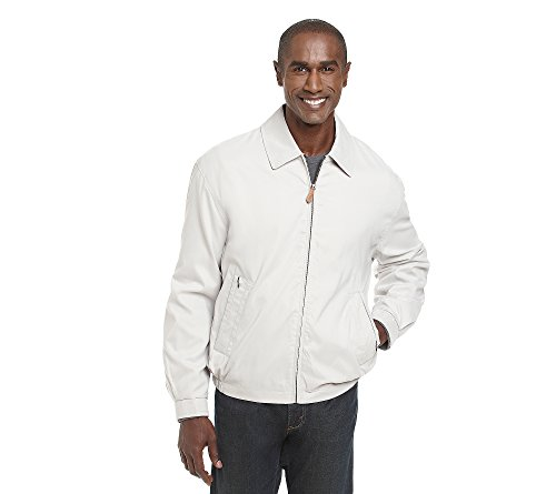 London Fog Men's Auburn Zip-Front Golf Jacket (Regular & Big-Tall Sizes), Cement, XLarge