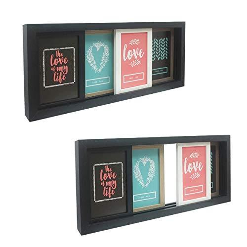 Marco de fotos de múltiples aperturas, incluye cuatro marcos de fotos de madera deslizantes de 15 x 10 cm, independiente o montaje en pared, 47 x 19,5 x 4,5 cm, color negro