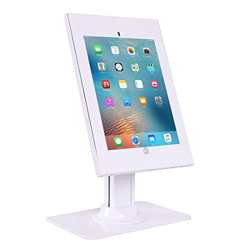 Allcam IPP2602L Anti-theft Kiosk comaptible with iPad 12.9' Desk Stand Secure Display Mount White w/Weighted Base, Cable Management & Security Lock