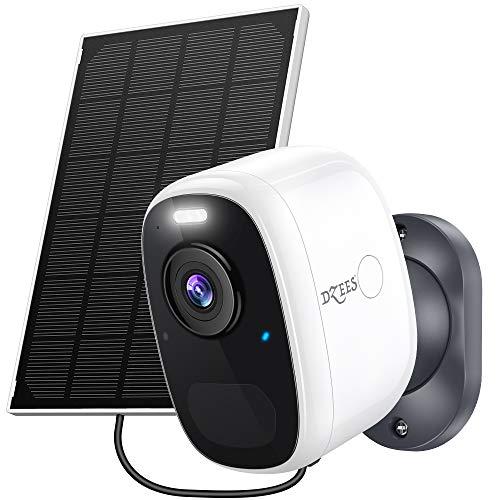 Solar Security Camera Outdoor Wireless Wifi, Dzees by ZUMIMALL, 1080P Outdoor Security Camera Wireless for Wireless Home Security Camera System, Flashlight/Alarm, Night Vision, AI Detection,2-Way Talk
