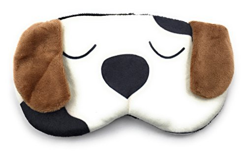 24x7 eMall Cute White Dog Cartoon Printed Super Soft and Comfortable Eye Shade Complete Black-out Design, Snooze, Slumber, Hibernate for Proper Sleep, Travel