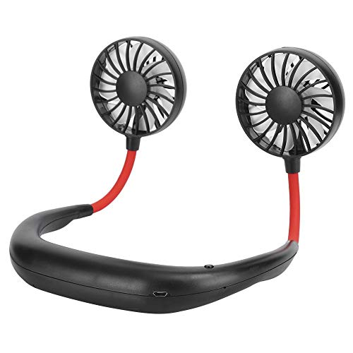 Se Divierte la Mini Fan Que cuelga el Viaje portátil portátil de la Fan del diseño 7 de la Cuchilla de la Fan(Black Red)