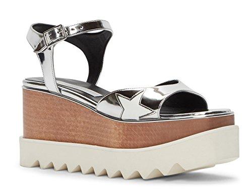 Stella McCartney Women's Silver Vegan Wedges Shoes - Size: 9 US