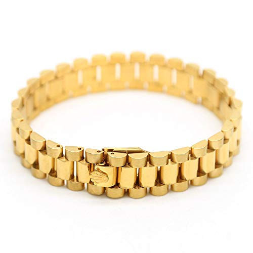 15MM breite Präsidentenkrone Schnalle DREI Perlen mit Armband Gold und Silber Titan Stahl Herrenarmband Geschenk (Golden)