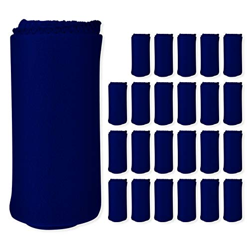 Imperial Home 24 Pack Wholesale Soft Cozy Fleece Blankets - 50  x 60  Comfy Throw Blankets (Navy Blue)