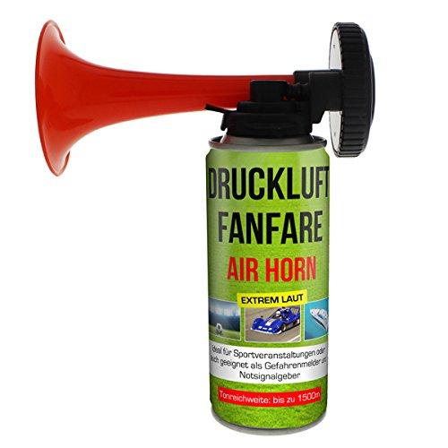 12x Druckluftfanfare Air Horn je 210ml, bis zu 60 Signale, Fanfare für Sport Veranstaltungen und als Warnsingnal, Hupe Tröte Drucklufthupe Gashupe Fantröte Airhorn Stadion Horn