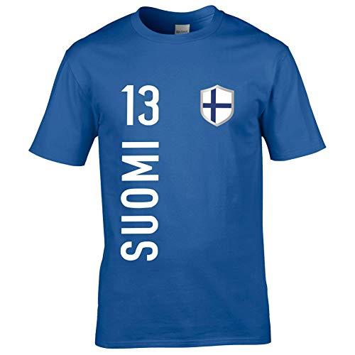 FanShirts4u Kinder Fanshirt Trikot Jersey FINNLAND Suomi Finland T-Shirt inkl. Druck Wunschname u. Wunschnummer EM WM (7/8 Jahre 122-128 cm, Suomi/blau)