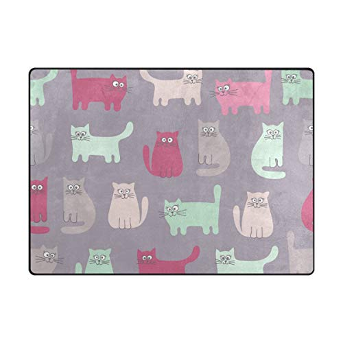 MALPLENA Staring Cat Zone Tapis antidérapant Pad Moyen d'entrée Paillasson Tapis de Sol Chaussures Grattoir, Polyester, 1, 63 x 48 inch