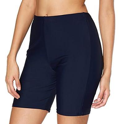 ATTRACO Ladies Long Tankini Bottom Tummy Control Swim Shorts Solid Navy XX-Large