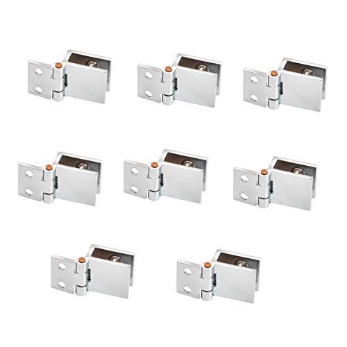 NUZAMAS - Juego de 8 bisagras de cristal para puerta, 5 mm-8 mm, abrazadera rectangular ajustable para armario, puerta de cristal, montaje en pared