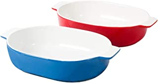 Lasagna Pan Ceramic Baking Plate Baking Plate Pizza Cake Plate Double Ear Cheese Baked Rice Bowl Plate Multi Baker Dish (Color : Multi-colored, Size : One size)