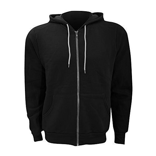 Canvas Unisex Zip-up Polycotton Fleece Hooded Sweatshirt/Hoodie (XL) (Black)