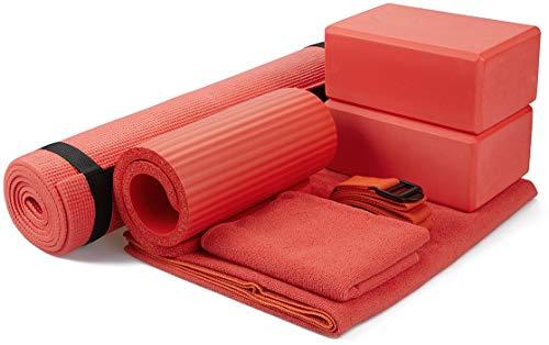 """BalanceFrom GoYoga 7-Piece Set - Include Yoga Mat with Carrying Strap, 2 Yoga Blocks, Yoga Mat Towel, Yoga Hand Towel, Yoga Strap and Yoga Knee Pad (Red, 1/4""""-Thick Mat)"""