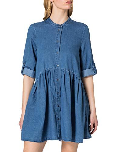 ONLY Damen ONLCHICAGO Life DNM 3/4 Dress QYT Kleid, Light Blue Denim, XL