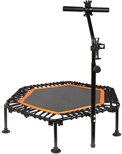 PROMECITY Trampoline Rebounder with Adjustable Handle for Adults Fitness, Jumping Cardio Trainer Workout for Indoor - Max Limit 120 KG