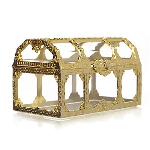 MOVKZACV Plasti c Cofre del tesoro, mini caja de joyería transparente, anillos collares pendientes caja de almacenamiento para niñas y mujeres (oro, tamaño: 9 x 5,2 x 5,5 cm)