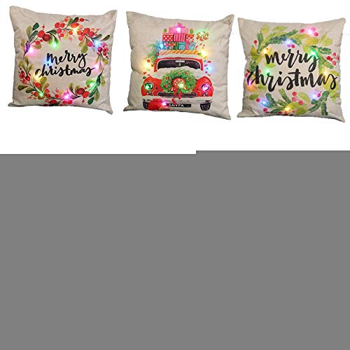 Christmas Pillow Cover LED Light Up Glow in the Dark Christmas Throw Pillow Cover Cushion Case for Xmas Holiday Party Decoration (5-pack / 45 * 45cm)