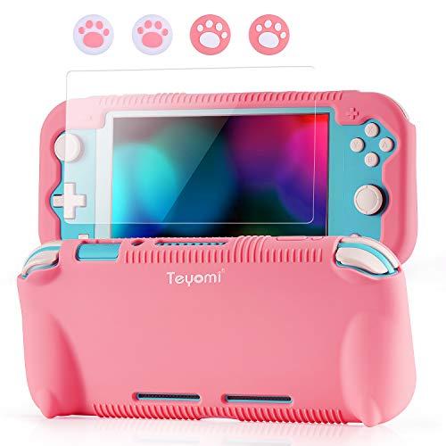 Teyomi - Funda de Silicona para Nintendo Switch Lite con Protector de Pantalla, 4 Piezas Joystick Tapas y Ranuras para Tarjetas, Carcasa con Soporte, diseño Resistente a Golpes y arañazos …