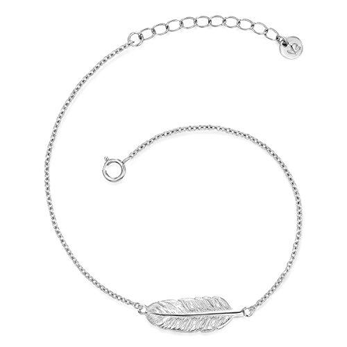 Glanzstücke München Damen-Silberarmband Feder Sterling Silber 17,5 + 3,5 cm - Silberkettchen mit Anhänger Feder Freundschaftsarmbänder Silber Silberanhänger Armband