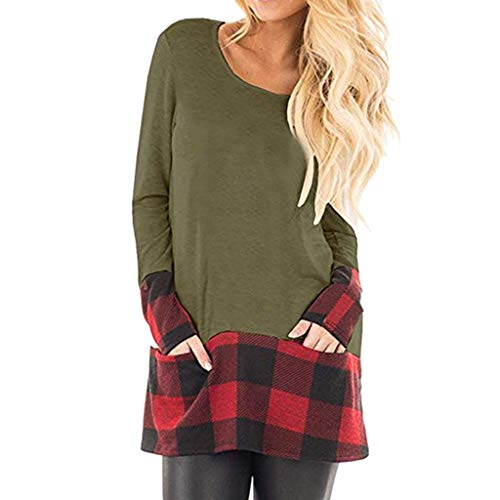 Auimank Women's Soft Casual T Shirt Fashion Twist Knotted Blouses Short Sleeve Long Sleeve Round Neck Tunic Tops Shirts(B-Green,Large)