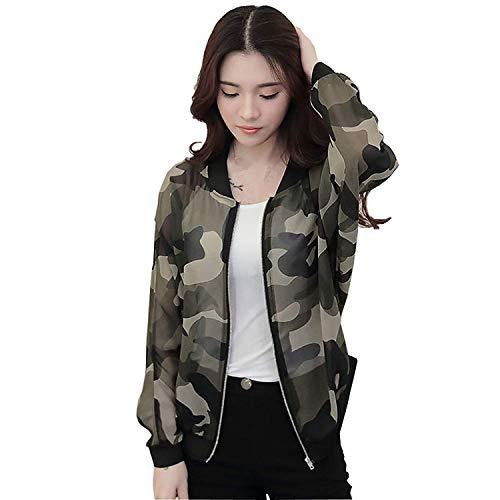 Bomberjack dames camouflage print lente herfst outwear elegante lange mouwen bekleding opstaande kraag met ritssluiting vrije tijd mode meisjes vliegenjack mantel