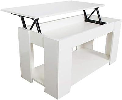 SXFYWJ centros de Mesa Centro Extensible pequeña Salon elevable y menzzo Sofa Blanca Lack Brillo Palet Esquina lacada mesas Modernas desplegable: Amazon.es: Hogar