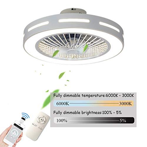 Ventilador De Techo Carrefour Velocidad Del Viento Ajustable,Ventiladores De Techos Con Iluminación 80W LED Techo Lámpara Remoto Control Regulable Súper Silenciosa Invisible Ventilador,56cm(a1)