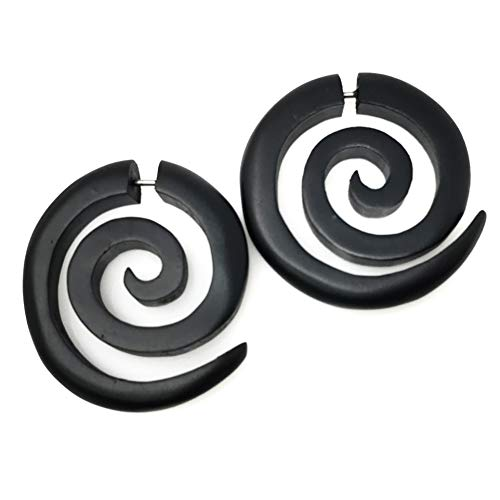 UMBRELLALABORATORY Tribal Organic Wooden Earrings Fake Gauges Sold As Pair Bohemian Jewelry Spiral Tattoo Faux Plugs tapers w 4d