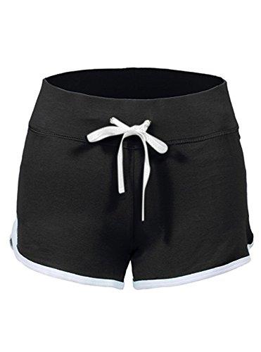 SwissWell Damen Sport Shorts Kurze Hosen Baumwolle Yoga Athletik Tanzen Shorts Fitness Hot Pants Hipster Workout, mit leichtem Figur formenden Effekt Schwarz EU-XL/Herstellergröße-2XL
