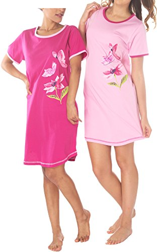 Consult-Tex Damen Nachthemd Baumwolle 2 Stück Packung DW960 (42/44, Rose Fuchsia)