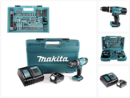Makita DHP453FX12 18v Combi Drill with 1x 3.0Ah Battery & 101 Pcs Accessory Set, 18 V