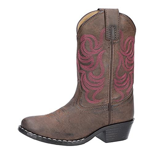Smoky Mountain Girls Brown con punto rosa Monterey Western Cowboy Boots,2.5M US Little Kid