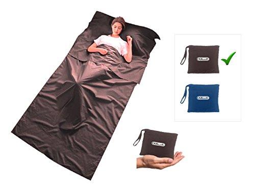 Schlafsack Inlett mit extra Kissenfach Perfekt f/ür Backpacker und in warmen L/ändern leicht und kleines Packma/ß Maraboha H/üttenschlafsack aus weicher Mikrofaser